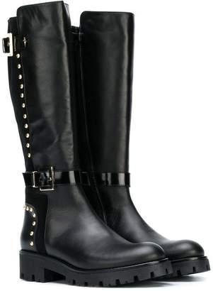 Cesare Paciotti Kids TEEN studded trim knee-length boots