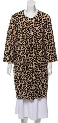 Oscar de la Renta Leopard-Print Long Coat