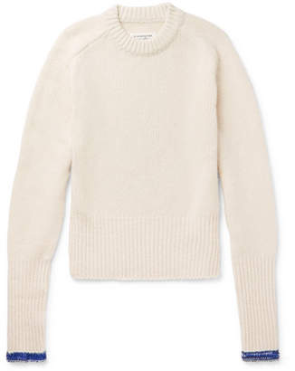 Maison Margiela Slim-Fit Contrast-Tipped Ribbed Cashmere and Wool-Blend Sweater - Men - Cream