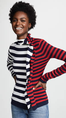 Monse Striped Half & Half Ruffle Turtleneck