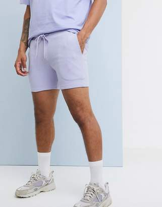 Asos Design DESIGN jersey skinny shorts in shoter length rib in lilac