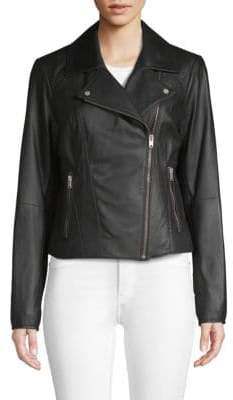 Andrew Marc Faith 19 Asymmetric Leather Biker Jacket