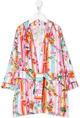 Pinko Kids logo floral print robe jacket