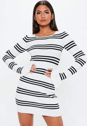 Missguided White Striped Ribbed Frill Sleeve Knit Mini Dress