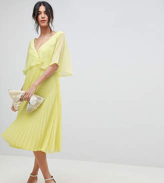 Asos Tall DESIGN Tall midi dress with pleat skirt and flutter sleeve