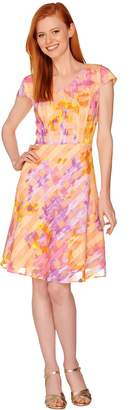 Isaac Mizrahi Live! Watercolor Print Gingham Organza Dress