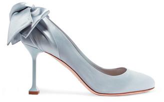 Miu Miu - Bow-embellished Satin Pumps - Sky blue $775 thestylecure.com