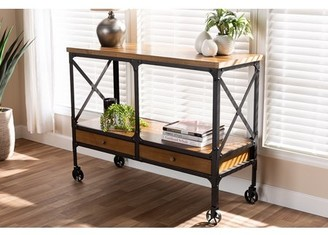 Baxton Studio Alves Vintage Rustic Industrial Style Wood and Bronze-Finished Steel Multipurpose Kitchen Island Table