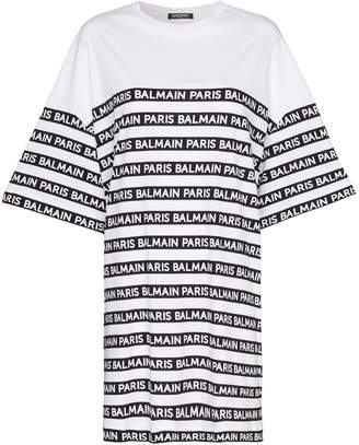 Balmain oversized logo stripe print cotton t shirt