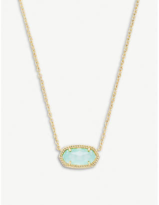 Kendra Scott Elisa 14ct gold-plated and chalcedony glass pendant necklace