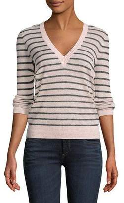 Veronica Beard Dean V-Neck Striped Sweater