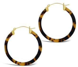 Sterling Forever 14K Yellow Gold Plated 50mm Tortoise Acetate Hoop Earrings