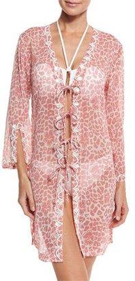 Letarte Tie-Front Floral-Print Tunic $298 thestylecure.com