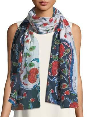 Escada Pottery Floral-Print Cotton-Silk Scarf