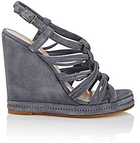 Barneys New York WOMEN'S KNOTTED-STRAP SUEDE PLATFORM-WEDGE SANDALS-MD. BLUE SIZE 8