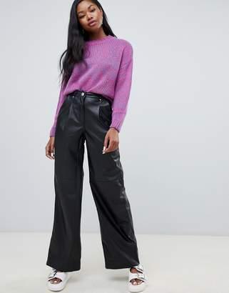 Bershka faux leather wide leg PANTS