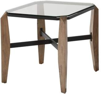 clear Furniture of America Trudy Glass Natural End Table