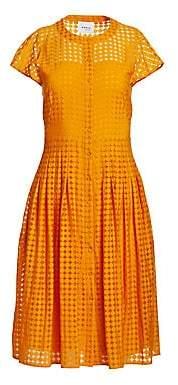 Akris Punto Women's Button-Front Cap Sleeve Lace A-Line Shirt Dress
