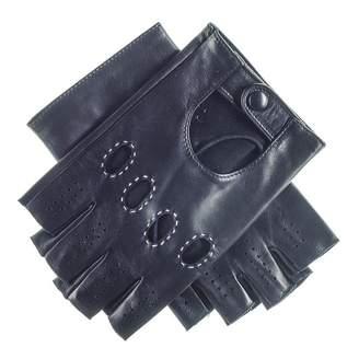 Black Men's Leather Fingerless Driving Gloves
