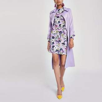 River Island Womens Purple ruched floral bodycon dress