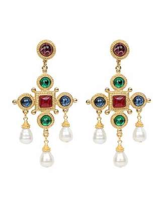 Ben-Amun Cross & Pearly Dangle Earrings