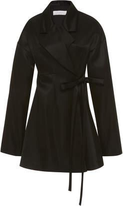 Marina Moscone Waist-Tie Silk-Satin Jacket