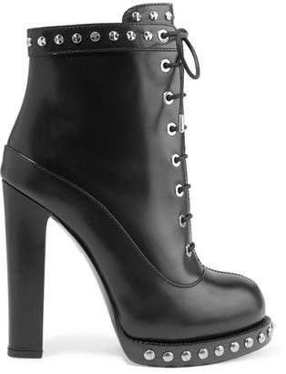 Alexander McQueen Studded Leather Ankle Boots - Black