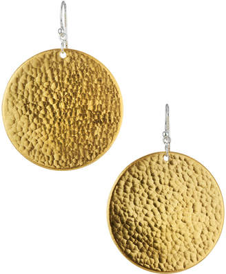 Gurhan Flake Large Hammered Disc Drop Earrings