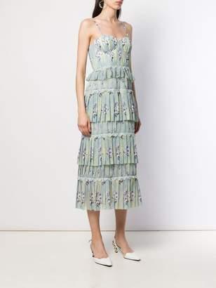 Self-Portrait tiered printed chiffon dress