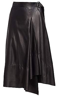Brunello Cucinelli Women's Asymmetric Leather Wrap Skirt