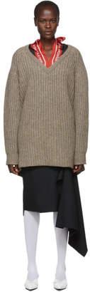 Balenciaga Grey Wool Scarf V-Neck Sweater