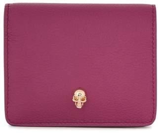 Alexander McQueen Raspberry Skull Leather Wallet