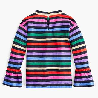 J.Crew Girls' rainbow-striped top with flare sleeves