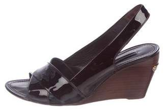 Louis Vuitton Patent Leather Slingback Wedges