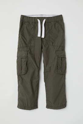 H&M Cotton Poplin Cargo Pants - Green