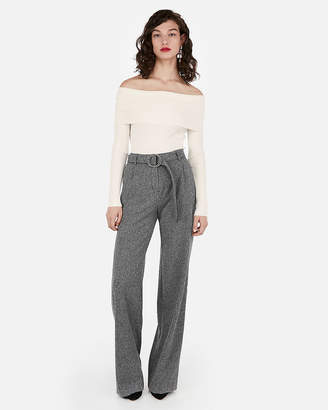 Express Ribbed Fitted Off The Shoulder Sweater