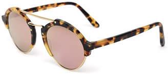 Illesteva Milan II Mirrored Round Sunglasses, Tortoise $300 thestylecure.com