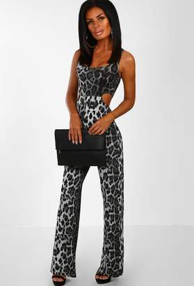5e093e220fd6 Pink Boutique Feline It Grey Leopard Print Lurex Cut Out Jumpsuit