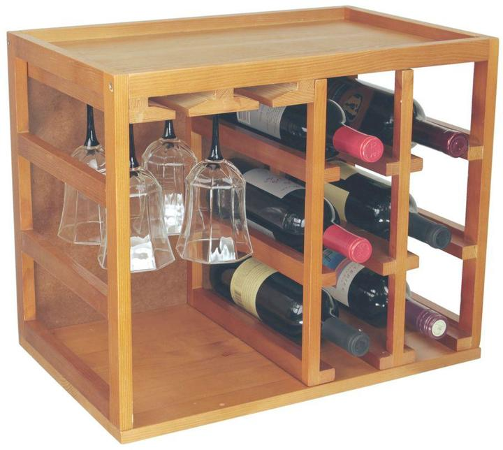 Elegant Home Fashions Newport Oak Wine Bottle and Glass Cage