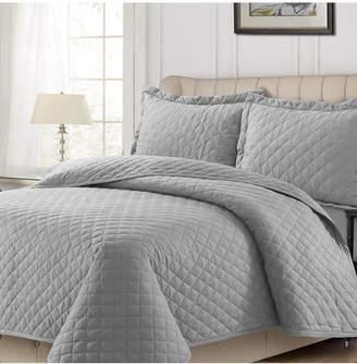 Tribeca Living Cotton Flannel Solid Oversized King Quilt Set