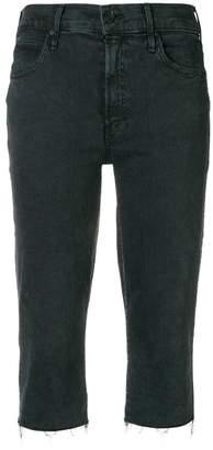 Mother frayed long denim shorts