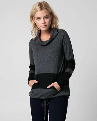 Le Château Stripe Cotton Blend Cowl Neck Sweater