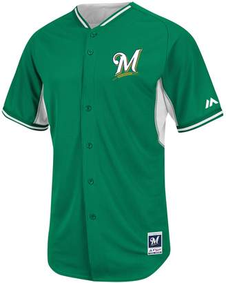 Majestic Men's Milwaukee Brewers Green Cool Base Batting Practice Jersey