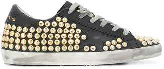 Golden Goose gold-tone studded Superstar trainers