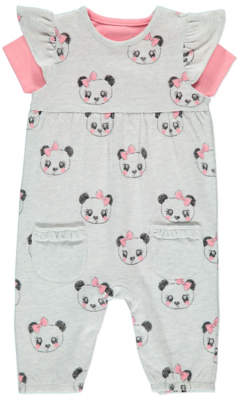 George Panda Dungarees and Bodysuit Set
