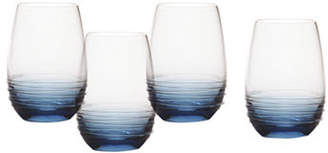 Mikasa Swirl Cobalt Stemless Wine Glass Set of 4
