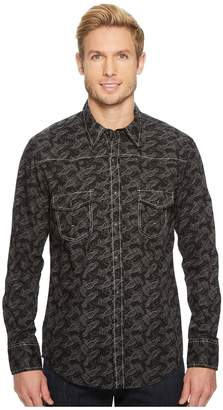 Rock and Roll Cowboy Print Long Sleeve Snap B2S5715 Men's Long Sleeve Button Up