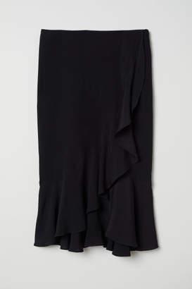 H&M Flounced Wrap-front Skirt - Black