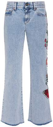 Gucci Embroidered Denim Jeans
