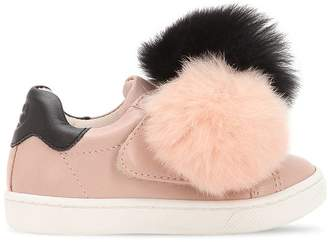 Leather Slip-On Sneakers W/ Fur Pompoms